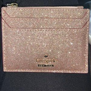 Kate Spade Sparkle Card Holder with Zip Pocket